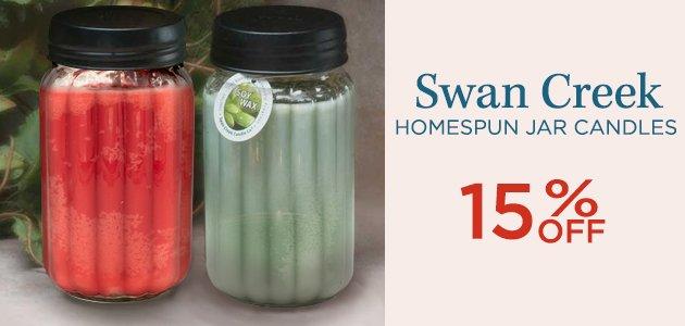 Swan Creek Homespun Jar Candles 15% OFF