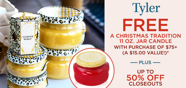 Tyler FREE A Christmas Tradition 11 oz. Jar with Purchase of $75+ (A $15.00 Value!)* Plus, Up To 50% OFF Closeouts