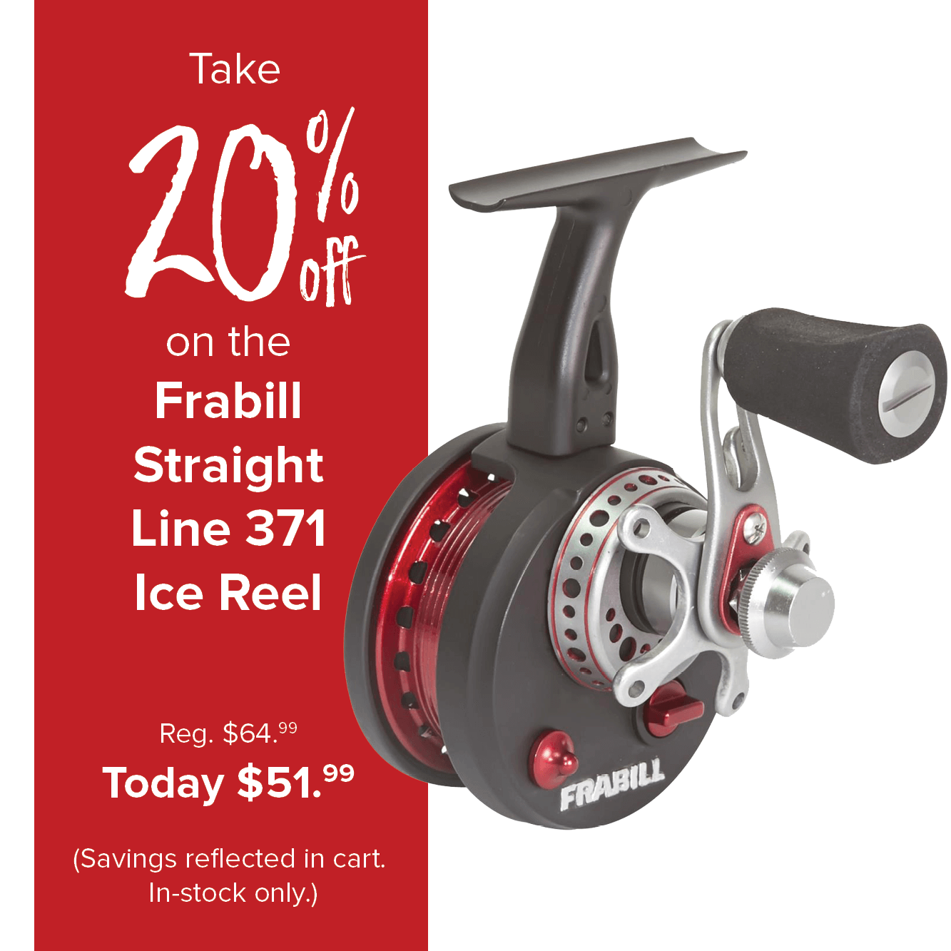 Save 20% on the Frabill Straight Line 371 Ice Reel