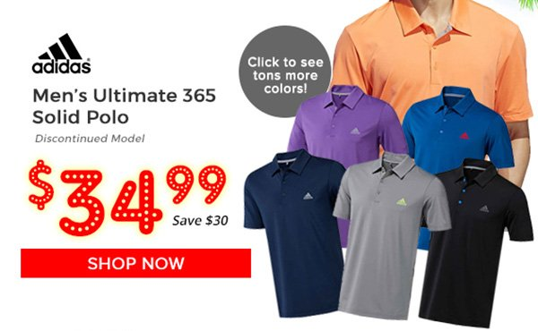 Adidas Ultimate 365 Solid Polo $34.99, Save $30