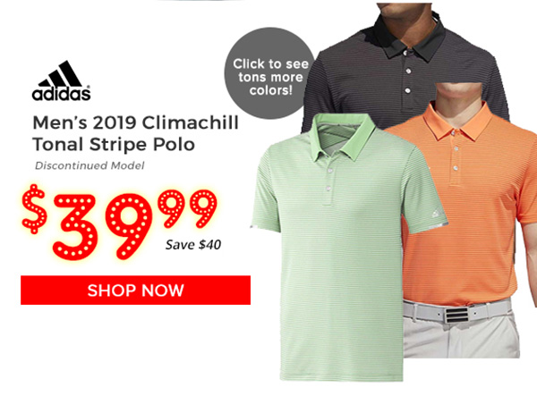 Adidas 2019 Climachill Tonal Stripe Polo $39.99, Save $40