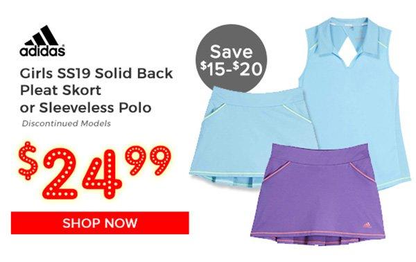 Adidas Girls SS19 Solid Back Pleat Skort $24.99