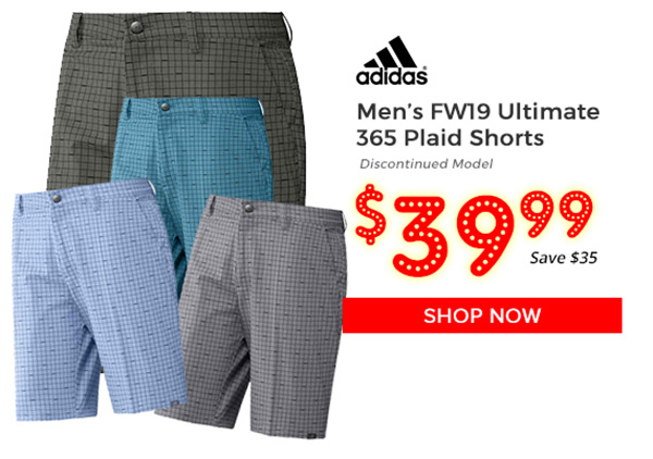 Adidas FW19 Ultimate 365 Plaid Shorts $39.99, Save $35