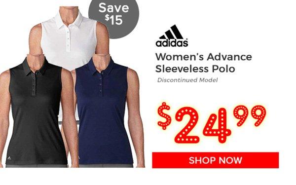Adidas Women's Advance Sleeveless Polo $24.99, Save $15