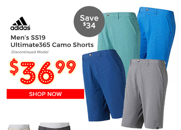 Adidas SS19 Ultimate365 Camo Shorts $36.99, Save $34