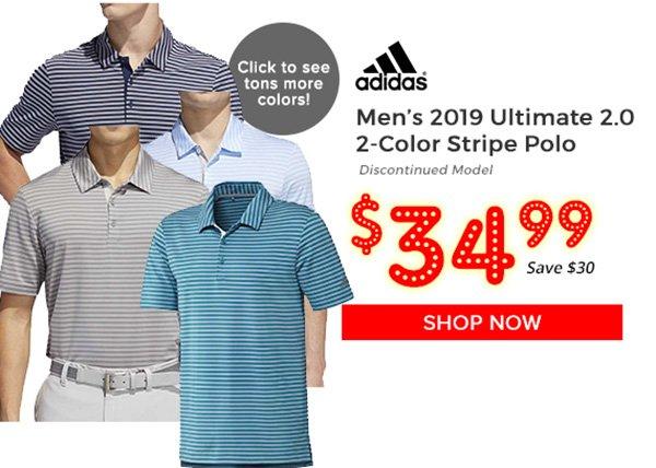 Adidas ultimate 2.0 2-Color Stripe Polo $34.99, Save $30