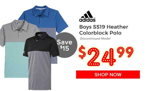 Adidas Boys SS19 Heather Colorblock Polo $24.99, Save $15