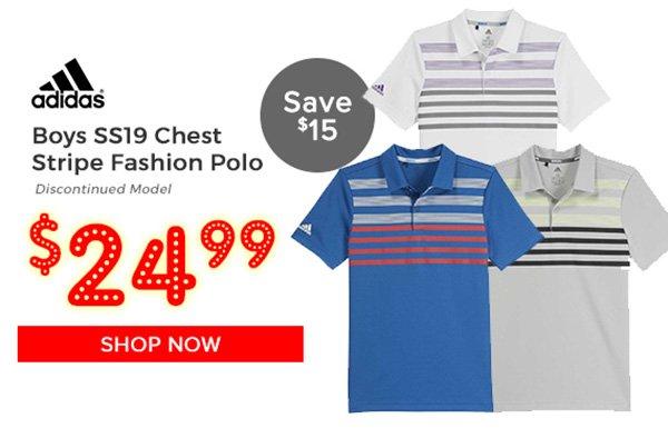 Adidas Boys SS19 Chest Stripe Fashion Polo $24.99, Save $15