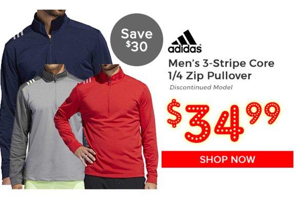Adidas 3-Stripe Core 1/4 Zip Pullover $34.99, Save $30