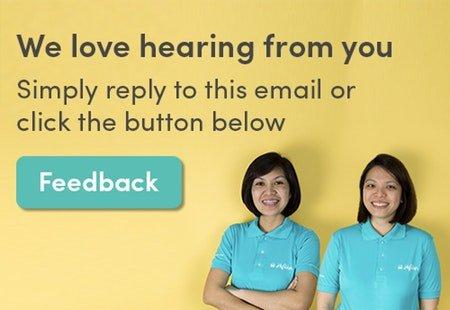 HipVan staff smiling beside a 'Feedback' button