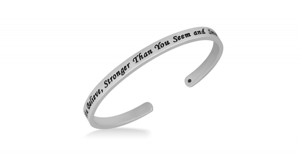 """Engraved """"You Are Braver Than You Believe"""" Silver Cuff Bracelet"""