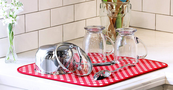 """2 Pack: 16"""" x 18"""" S&T Microfiber Red Gingham Dish Drying Mat"""