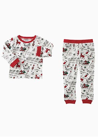 Red Holiday Print Two Piece PJ Set