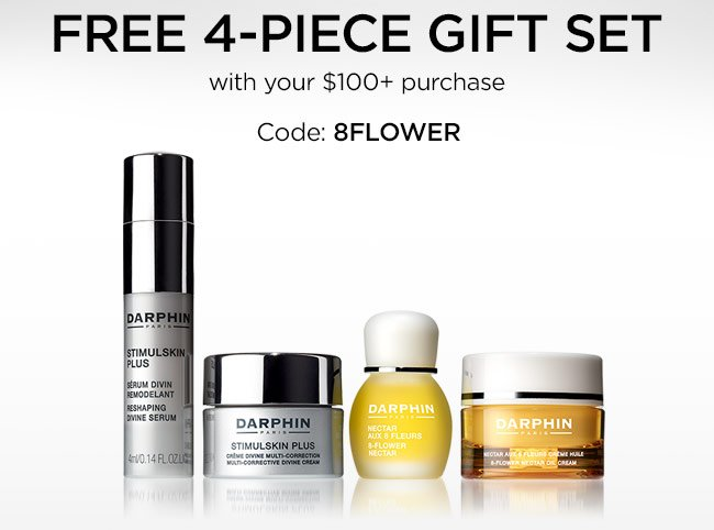 FREE 4-piece gift set with your $100+ purchase. Code: 8FLOWER