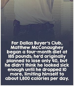 For Dallas Buyer's Club, Matthew began a four-month diet at 185 lbs. He'd originally planned to lose only 40, but he didn't think he looked sick enough until he dropped 10 more, limiting himself to about 1800 calories per day.
