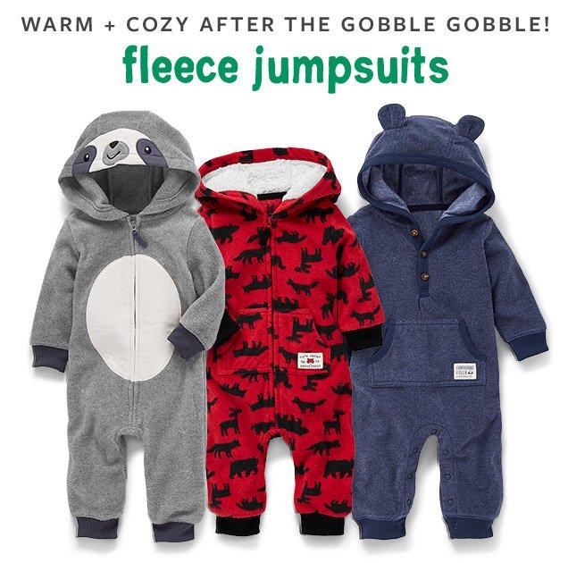WARM + COZY AFTER THE GOBBLE GOBBLE! fleece jumpsuits