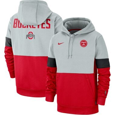 Nike Ohio State Buckeyes Gray/Scarlet Rivalry Therma Performance Pullover Hoodie