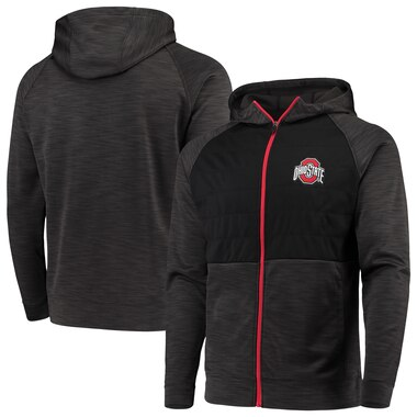 Ohio State Buckeyes Heathered Black Quilted Full-Zip Jacket
