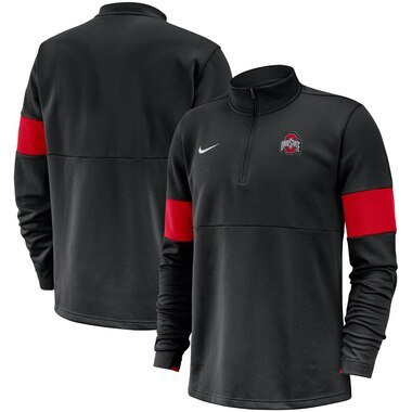 Nike Ohio State Buckeyes Black 2019 Coaches Sideline Performance Half-Zip Pullover Jacket