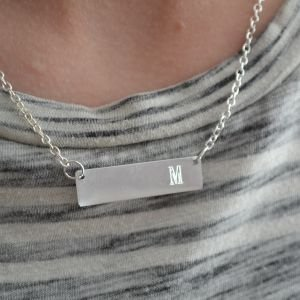 Personalized Engraved Letter Bar Necklac