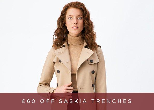 £60 OFF SASKIA TRENCH COATS