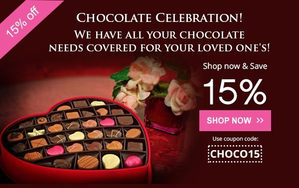 Chocolate Celebration! | Coupon code: CHOCO15 | Valid till: 30 Sep 2019 -- Shop Now
