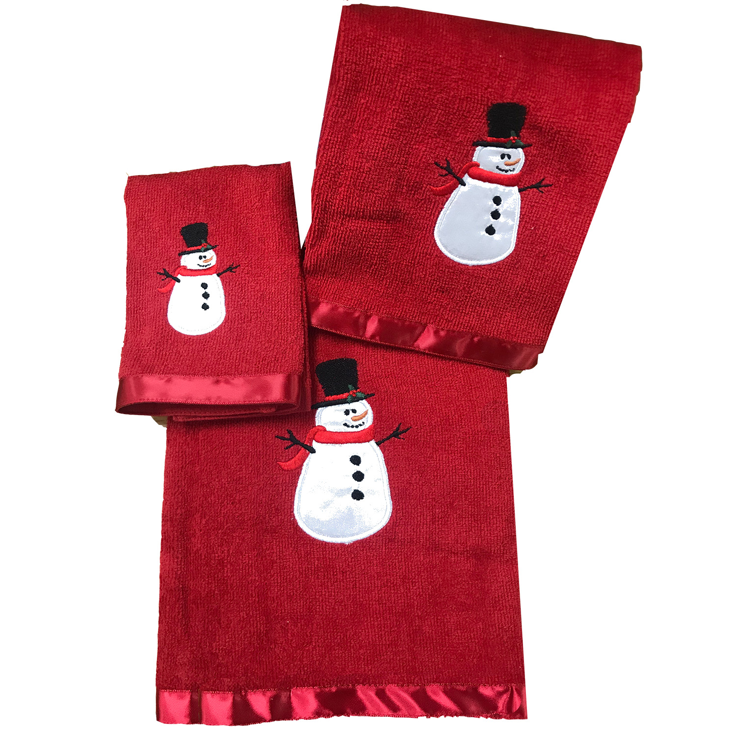 Holly Jolly Snowman Red Towel 3PC  Set