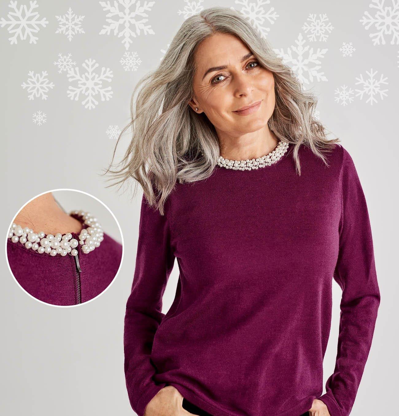 Pullover mit Perlenkragen aus Merinowolle für Damen in Cyclam