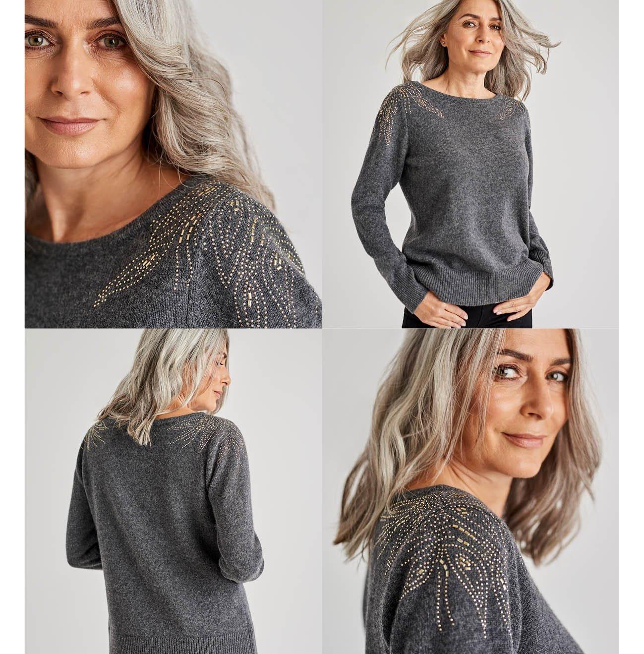 Pullover mit Bugle Bead Schulterdetail aus Merinowolle für Damen in Dunkel Anthrazit