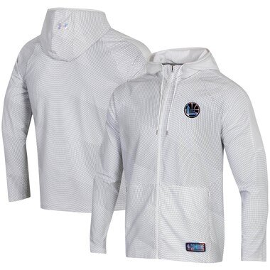 Men's Under Armour White Golden State Warriors Combine Authentic Holographic Woven Full-Zip Jacket