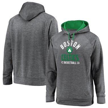 Men's Fanatics Branded Gray Boston Celtics Battle Charged Pullover Hoodie