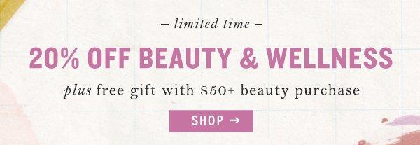 Shop 20% off beauty items.