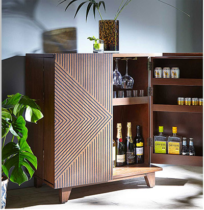 Deco Hand Painted Dark Wood Drinks Cabinet