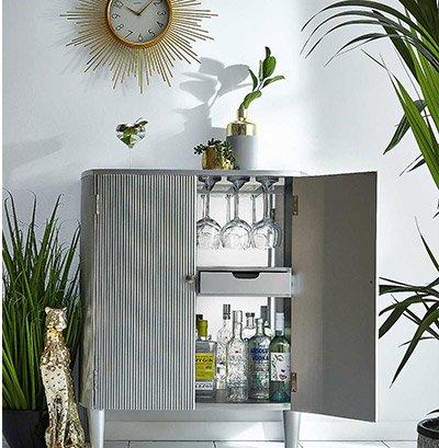 Carson Silver Coloured Drink Cabinet