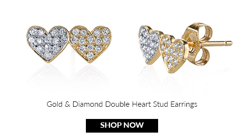 Gold & Diamond Double Heart Studs