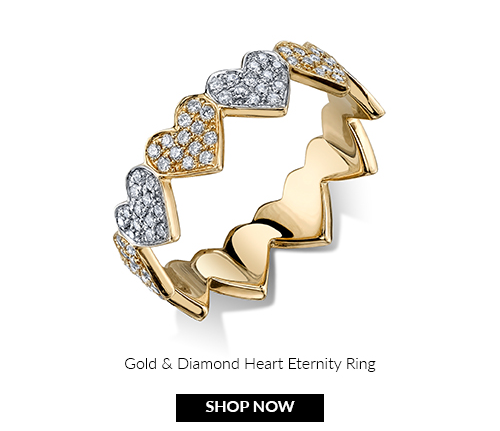 Gold & Diamond Heart Eternity Ring