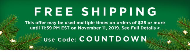 Free Shipping Use code: COUNTDOWN