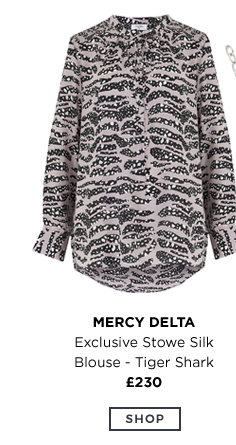 MERCY DELTA Exclusive Stowe Silk Blouse - Tiger Shark