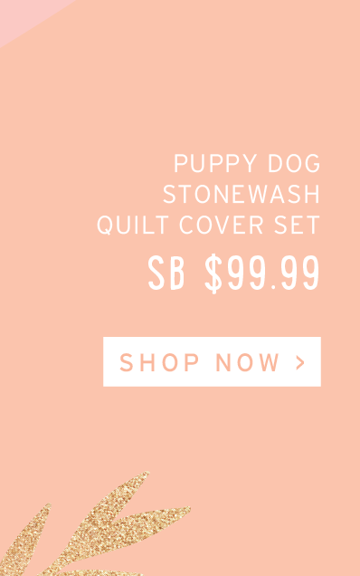 Puppy Dog Stonewashed Navy Quilt Cover Set
