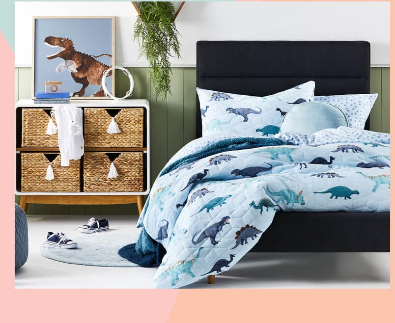 Dino Footprints Quilted Jersey Sky Blue Quilt Cover Set