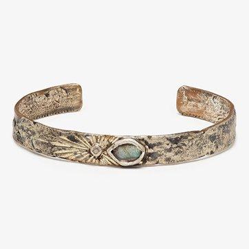 franny e one-of-a-kind narrow labradorite & diamond cuff bracelet
