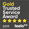 2019 Gold Trusted Service 5 stars - Feefo