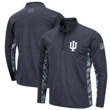 Indiana Hoosiers Colosseum OHT Military Appreciation Digital Camo Quarter-Zip Pullover Jacket - Charcoal