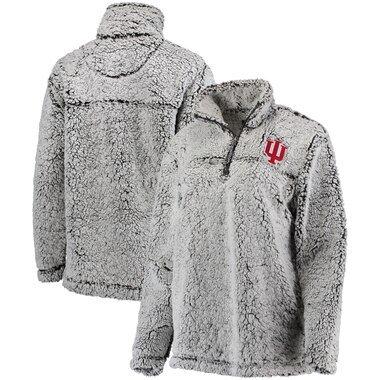 Indiana Hoosiers Women's Sherpa Super Soft Quarter-Zip Pullover Jacket - Gray
