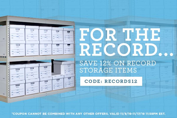 Take 12% Off Select Record Storage Items - Code RECORDS12