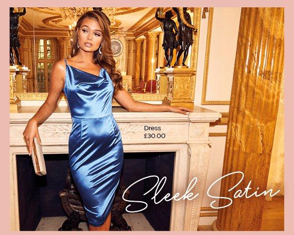 QUIZ Clothing Royal Blue Cowl Neck Bodycon Midi Dress