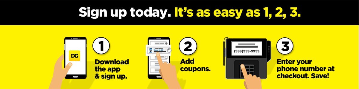 Sign up for DG Digital Coupons today. It's as easy as 1, 2, 3.