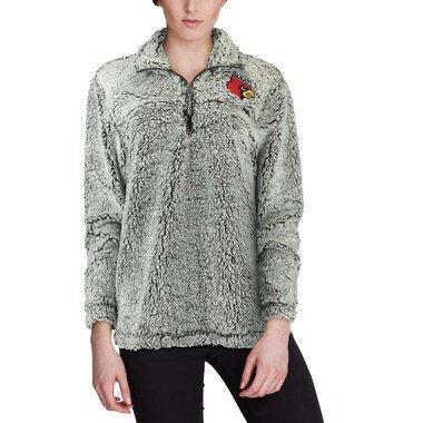 Louisville Cardinals Women's Gray Sherpa Super Soft Quarter Zip Pullover Jacket
