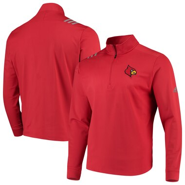 Louisville Cardinals adidas College Three-Stripe Quarter-Zip Jacket - Red