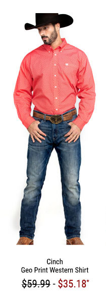 Cinch Men's Red Geo Print Button Long Sleeve Western Shirt